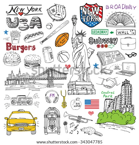 New York city doodles elements. Hand drawn set with, taxi, coffee, hotdog, burger, statue of liberty, broadway, music, coffee, newspaper, manhattan bridge, central park. Doodle collection, isolated - stock vector
