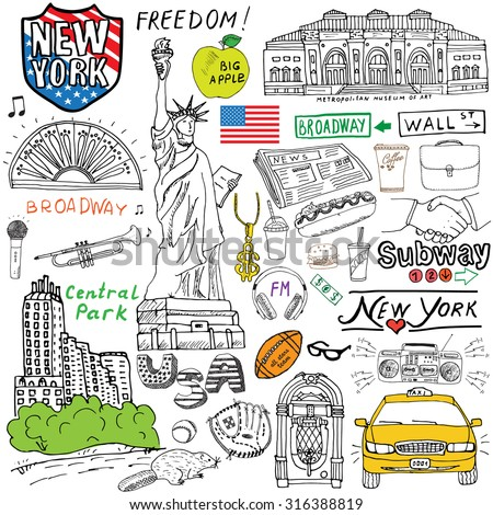 New York city doodles elements. Hand drawn set with, taxi, coffee, hotdog, statue of liberty, broadway, music, coffee, newspaper, museum, central park. Drawing doodle collection, isolated on white. - stock vector
