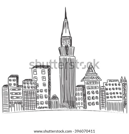 New York City, downtown, city skyline, sketch - stock vector