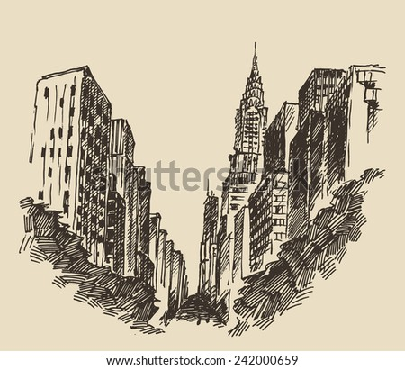 New York city engraving vector illustration, hand drawn - stock vector