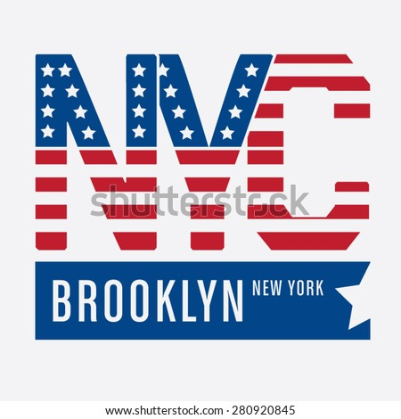 New York City flag america typography, t-shirt graphics, vectors