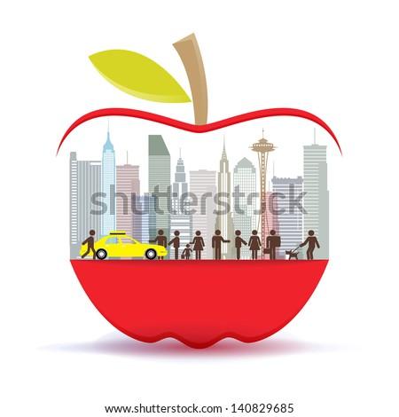 New York city in the big apple, illustrator vector - stock vector