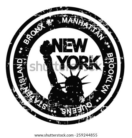New York City ink stamp grunge style. Vector illustration on white background. - stock vector
