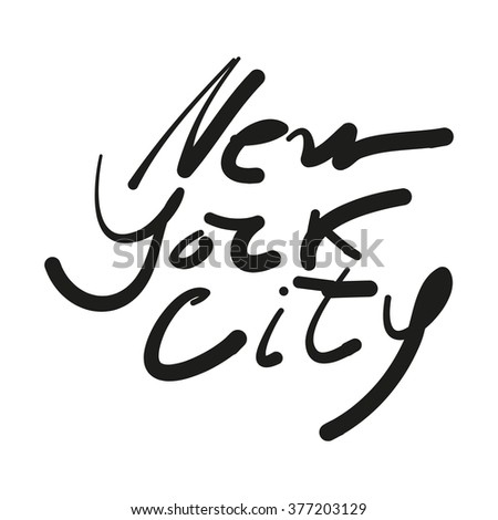 New York city - lettering design. Hand drawn typographic composition.   - stock vector