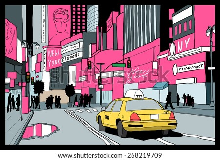 New York city lights - night view of Manhattan. Taxi cab at Times Square. - stock vector