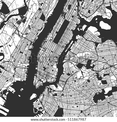 new york city manhattan one color map vector outline version ready for color change