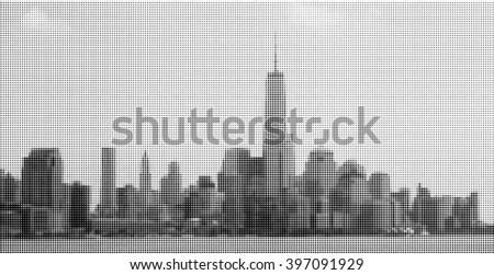 New York City. Manhattan. Panorama from Hoboken - stock vector