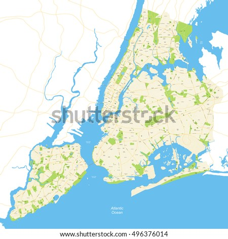 New York City Map Stock Vector Shutterstock - Ny map of cities