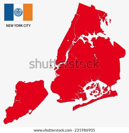 new york city map with flag - stock vector