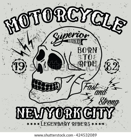New York City motorcycle, legendary riders vector print and varsity. For t-shirt or other uses in vector.T shirt graphic