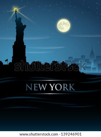 New York City night - vector illustration - stock vector