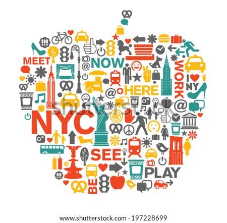 New York City NYC icons and symbols big apple - stock vector