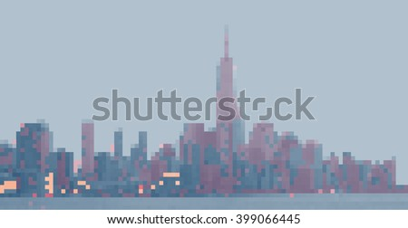 New York City. Panorama from Hoboken. Pixels picture - stock vector
