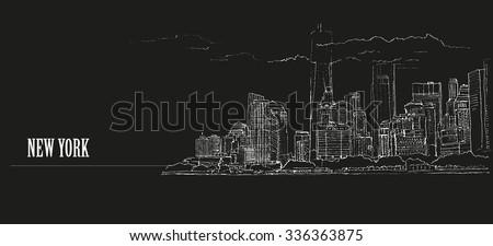 New York city, panoramic view, USA. Hand drawn sketch - stock vector