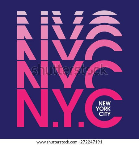 New York City pink typography, t-shirt graphics, vectors, girl - stock vector