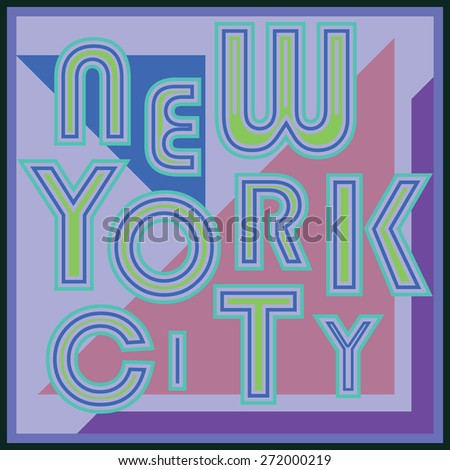 New York City retro vintage typography poster, t-shirt Printing design, vector Badge Applique Label. - stock vector