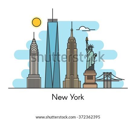 New York city skyline background. United States of America. Line flat trendy illustration. - stock vector
