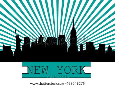 New York city skyline detailed silhouette. - stock vector