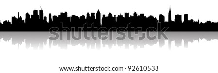 New York City skyline silhouette - stock vector