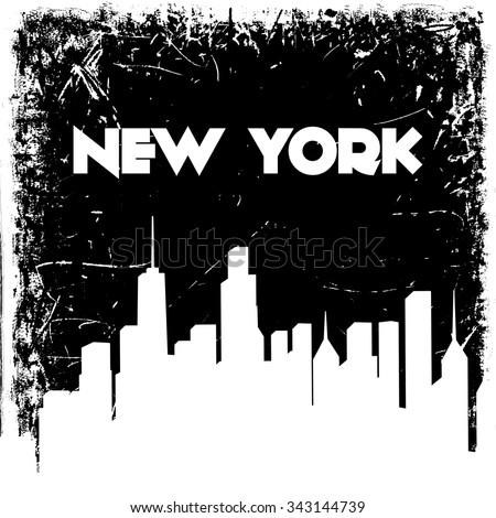 New York city skyline silhouette on grunge background. Vector hand drawn illustration. Design retro card, print, t-shirt, postcard - stock vector