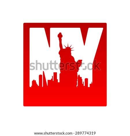 New York city skyline silhouette. Template for design. - stock vector