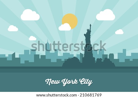New York City skyline - vector illustration - stock vector
