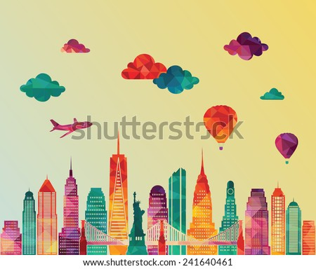 New York city skyline. Vector illustration - stock vector