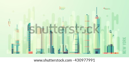 New York city skyline, vector illustration, flat style - stock vector