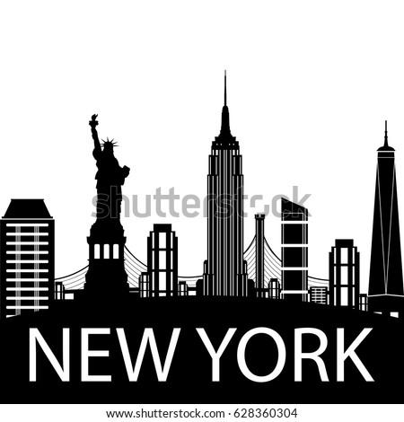 new york city skyline vector silhouette stock vector 628360304 rh shutterstock com new york city skyline vector free new york skyline vector art