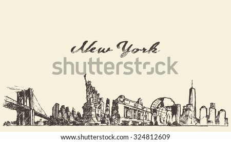New York city skyline, vector vintage engraved illustration, hand drawn, sketch - stock vector