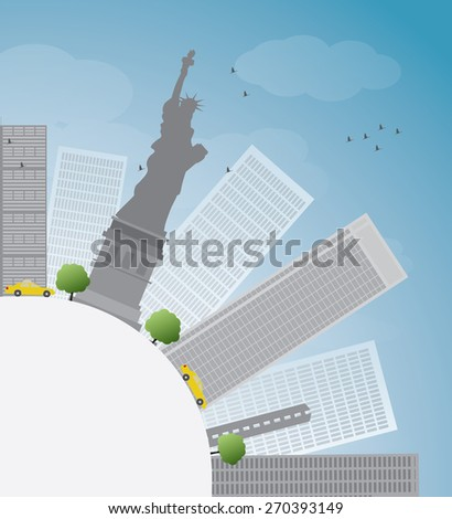 New York city skyline with blue sky, clouds and yellow taxi - stock vector