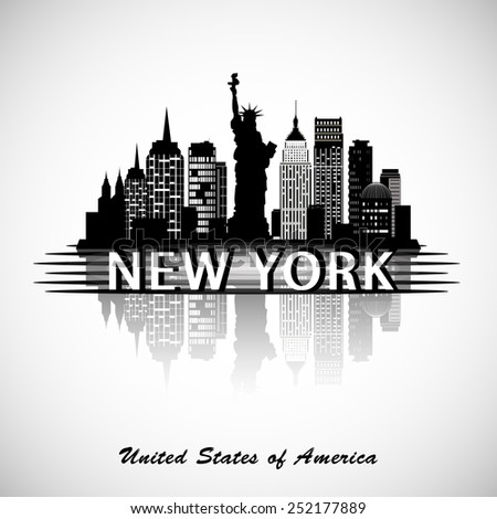 New York City skyline with reflection. eps10 vector - stock vector