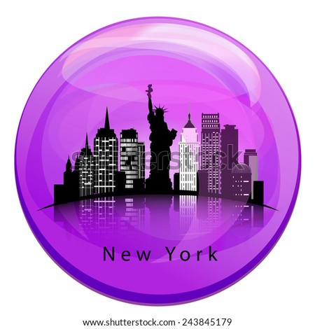 New York City skyline with reflection in the globe - stock vector