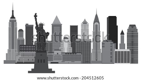 New York City Skyline with Statue of Liberty Black and White Vector Illustration - stock vector