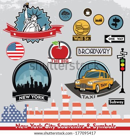 new york city souvenirs symbols vector stock vector