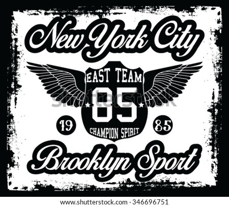 New York  City Sports vector print and varsity. For t-shirt or other uses in vector. - stock vector
