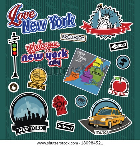 New York city stickers and symbols - stock vector