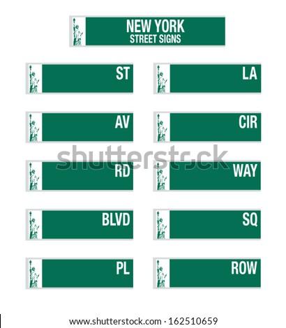 new york city street signs - stock vector
