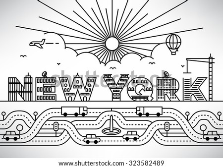 New York City Typography Design with Building Letters - stock vector