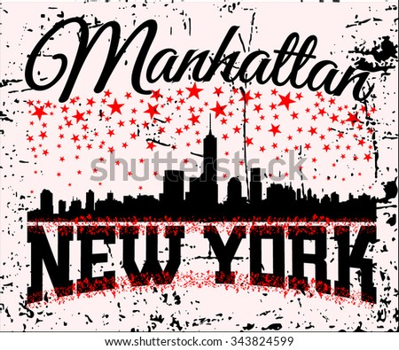 New York city Typography Graphics. Fashion stylish printing design for sportswear apparel. Concept in modern graphic style for print production. Skyline of Manhattan. Grunge separate layer. Vector - stock vector