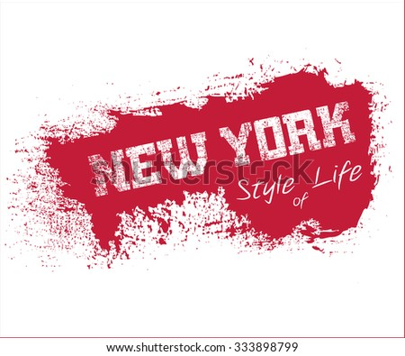 New York city Typography Graphics. Fashion stylish printing design for sportswear apparel. NYC original wear. Concept in modern graphic style for different print production. Effect of grunge. Vector - stock vector