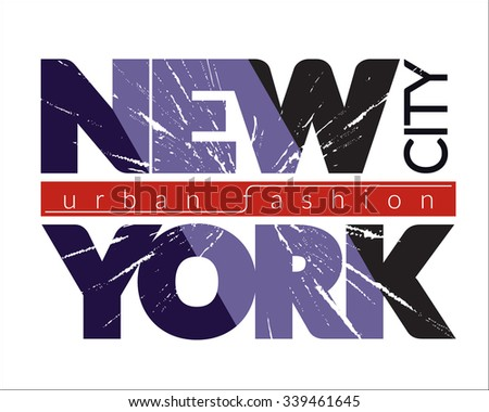 New York city Typography Graphics. Fashion stylish printing design for sportswear apparel. NYC original wear. Concept in modern graphic style for print production. Effect of cracked glass. Vector - stock vector