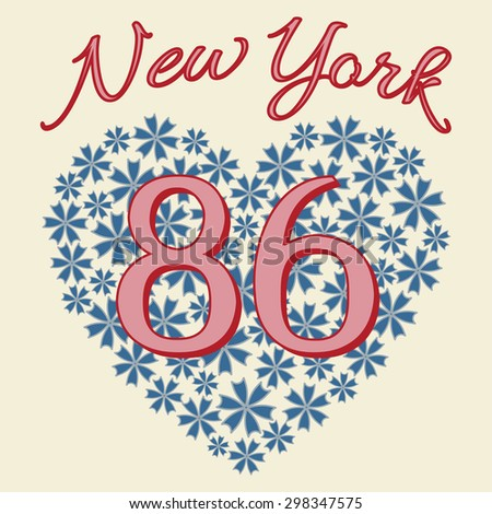 New York City Typography Graphics. Girls T-shirt Printing Design. NYC original wear. Fashion print for sportswear apparel. Numbers on a floral heart. Vector illustration - stock vector