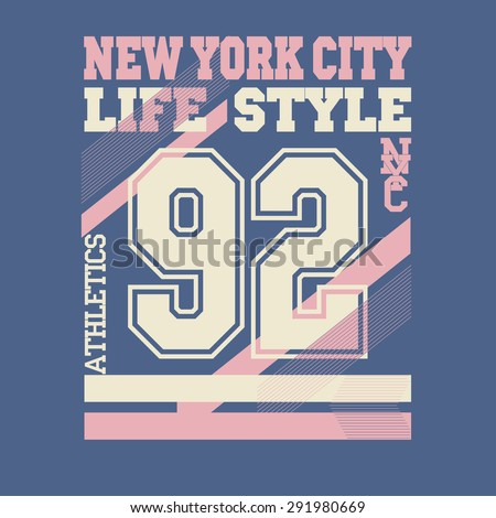 New York City Typography Graphics, Numbers logo, T-shirt Printing Design; NYC original wear, Vintage Print for sportswear apparel - vector illustration - stock vector