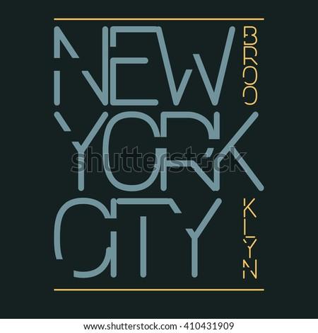 New York City Typography Graphics, T-shirt Printing Design. New York City, Brooklyn original wear. Print for sportswear apparel - vector illustration - stock vector