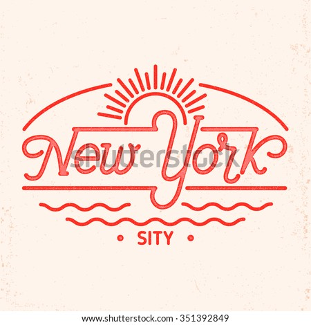 New York city typography line art design. For apparel,t-shirt,print,home decor elements.  - stock vector