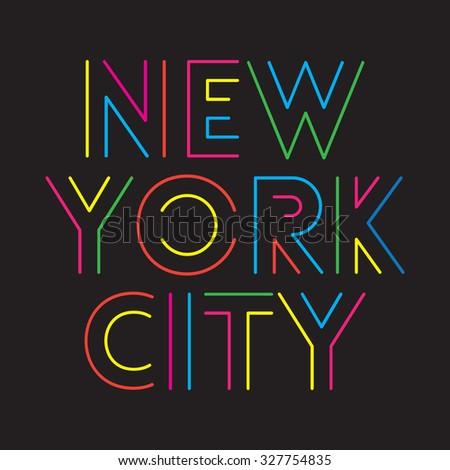 New York City typography, t-shirt graphics - stock vector