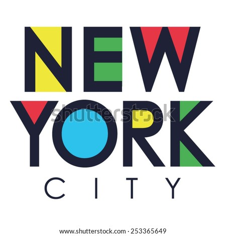 New York city typography, t-shirt graphics, vectors - stock vector