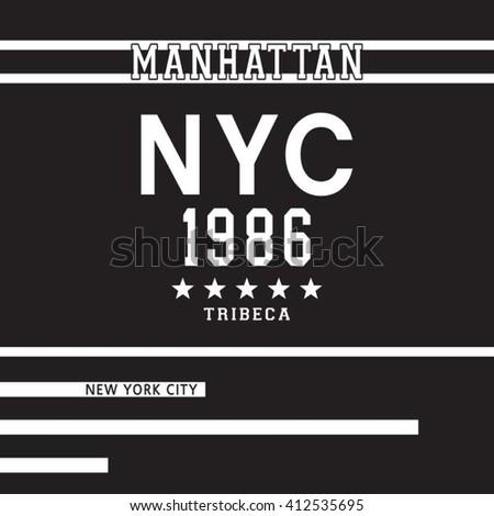 New York city typography, t-shirt graphics, vectors, sport - stock vector