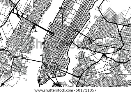New York City Vector Map Stock Vector Shutterstock - New york city map drawing